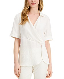 Petite Draped-Front Collared Top, Created for Macy's