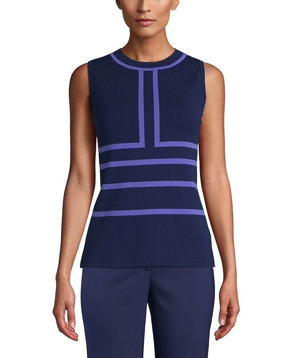 Anne Klein Printed Intarsia-Knit Top