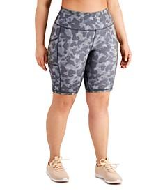 Plus Size Camo-Print Bike Shorts, Created for Macy's