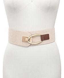 INC Interlock Buckle Wide Stretch Belt, Created for Macy's