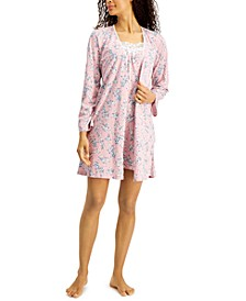 Lace-Trim Nightgown & Robe Set, Created for Macy's