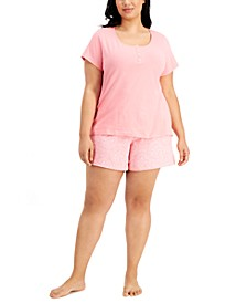 Plus Size Henley & Shorts Cotton Pajama Set, Created for Macy's