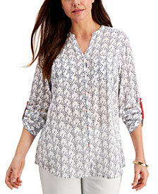 Charter Club Anchor-Print Shirt, Created for Macy's