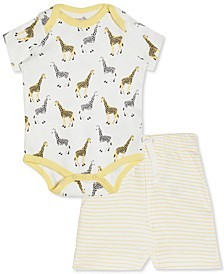 Baby Boys & Girls 2-Pc. Cotton Giraffe-Print Bodysuit & Striped Shorts