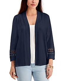 Crochet-Trim Open Cardigan, Created for Macy's
