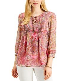 Pintucked Floral-Print Blouson Top