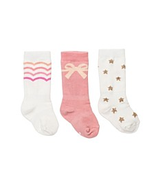 Baby Girls Mixed Pretty Knee Socks, Pack of 3