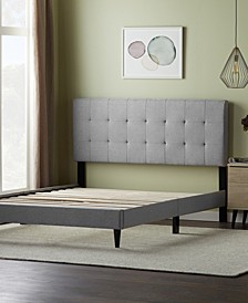 Upholstered Platform Bed Frame with Square Tufted Headboard, Queen