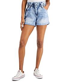 YNQ Denim Cuffed Paperbag Shorts
