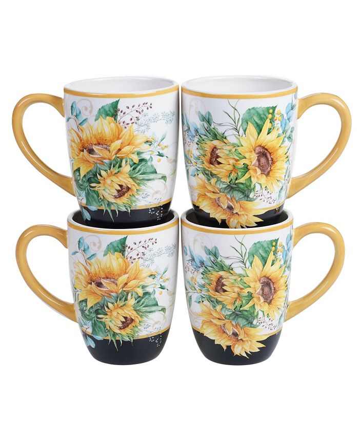 Certified International - Sunflower Fields 4-Pc. Mugs