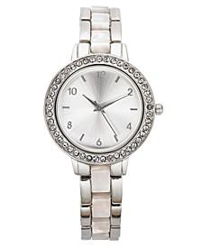Women's Silver-Tone & White Bracelet Watch 33mm