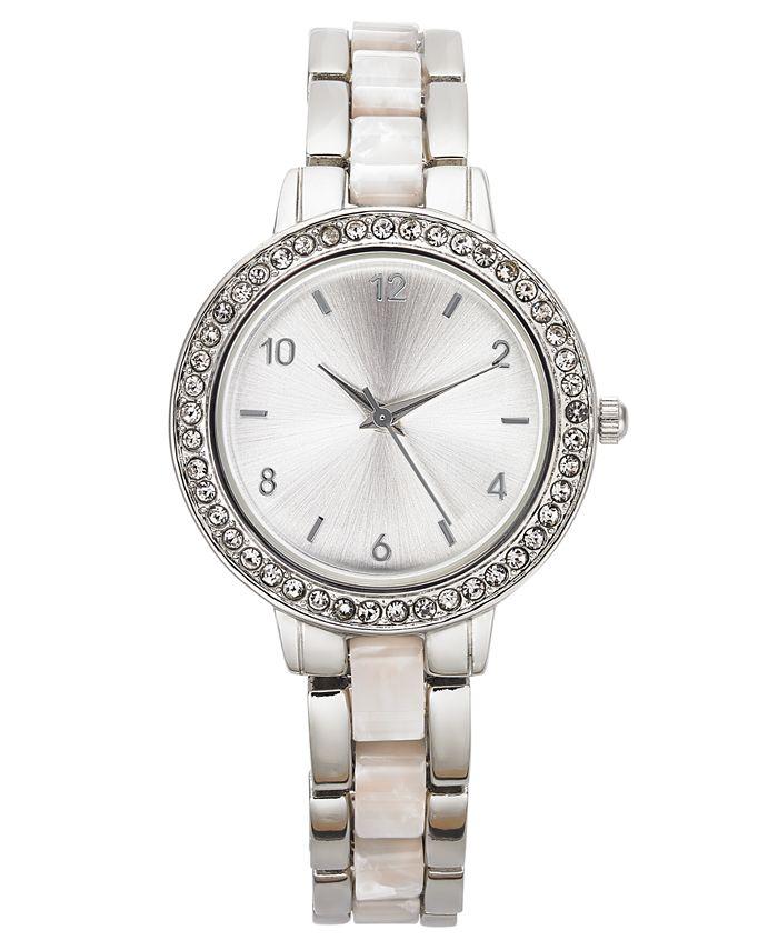 Charter Club - Women's Silver-Tone & White Bracelet Watch 33mm