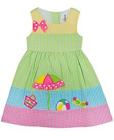 Little Girls Beach Gingham Seersucker Dress