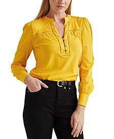 Blouson-Style Cotton-Jersey Top