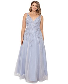 Plus Size Embroidered Illusion-Inset Gown