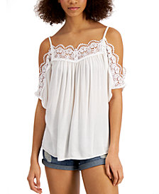 Gypsies & Moondust Juniors' Lace Cold-Shoulder Top