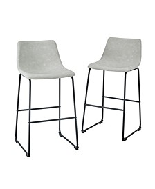 "30"" Industrial Faux Leather Barstools, Set of 2"