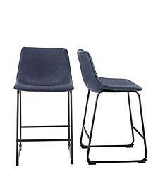"26"" Faux Leather Counter Stool, Set of 2"
