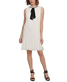 Sleeveless Pleated Tie-Neck Shift Dress