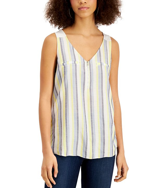BCX Juniors' Striped Zip-Front Knit-Back Tank Top