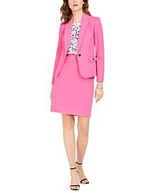 Crepe Blazer, Floral-Print Top & Pencil Skirt