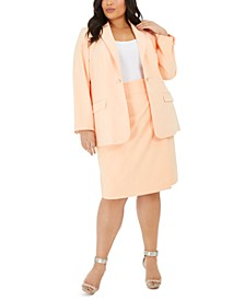 Plus Size Button-Trim Open-Front Blazer & Pencil Skirt
