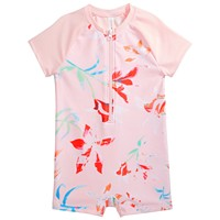 Deals on Ideology Little Girls Printed Zip Rash Guard
