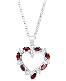 "Rhodolite Garnet (1-3/8 ct. t.w) & White Quartz (1/4 ct. t.w) Heart 18"" Pendant Necklace in Sterling Silver"