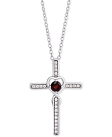 "Rhodolite Garnet (1/3 ct. t.w) & Cubic Zirconia Heart Cross 18"" Pendant Necklace in Sterling Silver"