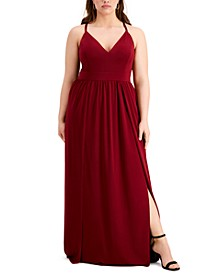 Trendy Plus Size Lace-Back Gown