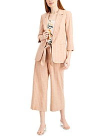 Chambray Striped Blazer, Floral-Print Top & Cropped Pants, Created for Macy's