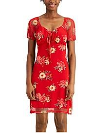 Juniors' Tie-Front Dress