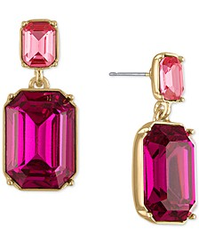 Gold-Tone Pink Stone Double Drop Earrings