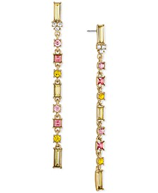 Gold-Tone Multicolor Baguette Linear Earrings