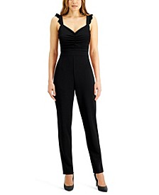 Juniors' Ruffled-Strap Jumpsuit