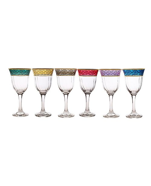 Classic Touch Water Glass with 14K Gold Design, Set of 6