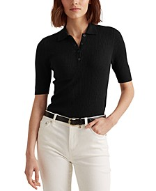 Rib-Knit Collared Shirt