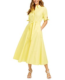 Cotton Solid Shirtdress