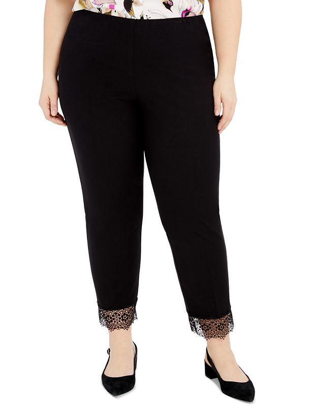 Alfani Plus Size Lace-Hem Pull-On Pants, Created for Macy's
