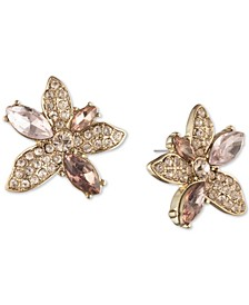 Crystal Flower Button Earrings