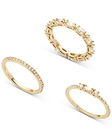 Gold-Tone 3-Pc. Set Marquise Crystal Rings