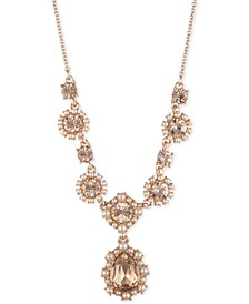 """Rose Gold-Tone Crystal & Imitation Pearl Cluster Lariat Necklace, 16"""" + 3"""" extender"""