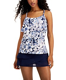 Aura Ruffle Bra Size Tankini Top & Illusion-Overlay Swim Skirt