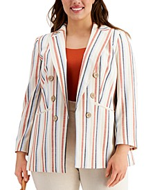 Trendy Plus Size Striped Chambray Blazer, Created for Macy's