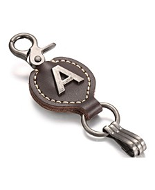 Retro Leather Alphabet Keychain
