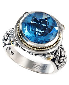 Balissima by EFFY Blue Topaz Round Ring in 18k Gold and Sterling Silver (5-3/4 ct. t.w.)