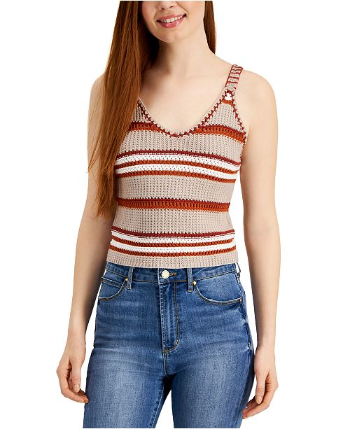 Planet Gold Juniors' Striped Cropped Tank Top