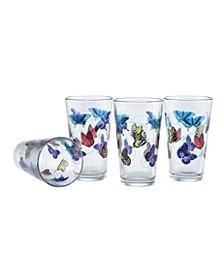 Butterflies Pint Glass 16-Ounce Set of 4
