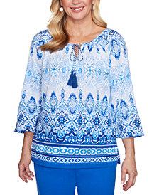 Alfred Dunner Laguna Beach Cotton Batik Biadere Woven Shirt