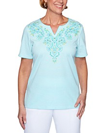 Spring Lake Striped Embroidered Top